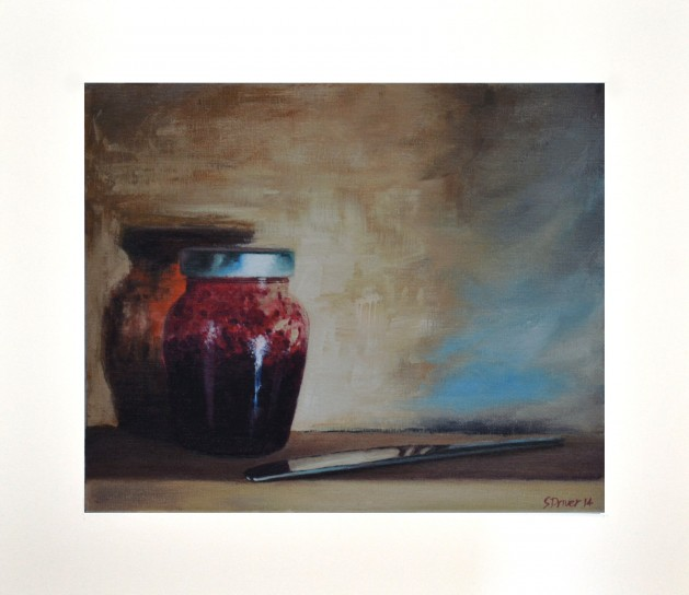 Jampot and knife Giclee Print. Original art by Steve Driver