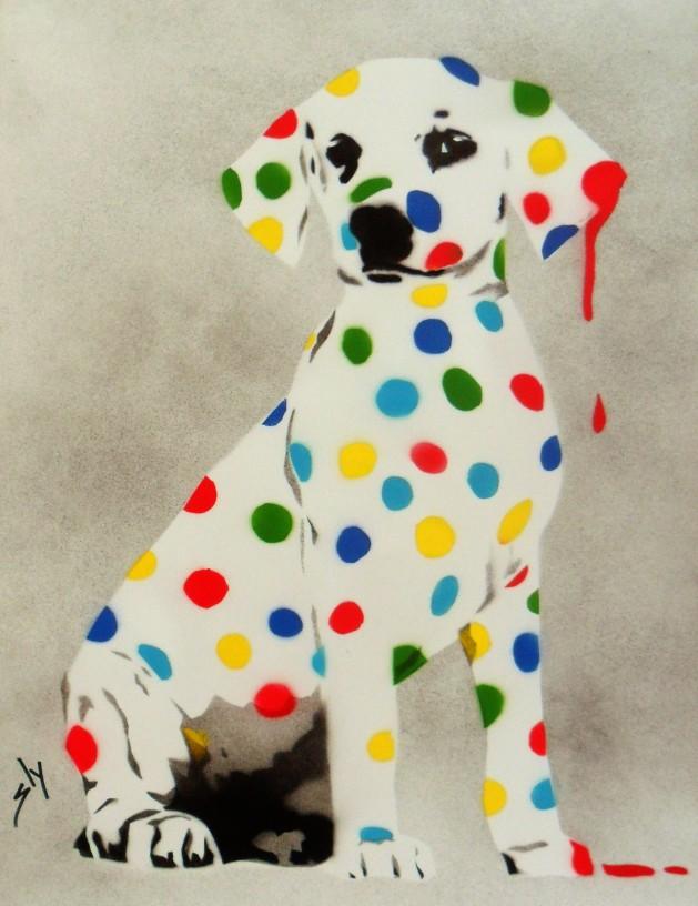 Damien\'s Dotty, Spotty Puppy Dawg on paper + FREE poem.. Original art by Juan Sly