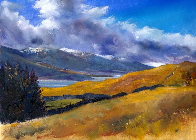 Wintery Clouds, Loch Tay. Original art by Christine Derrick