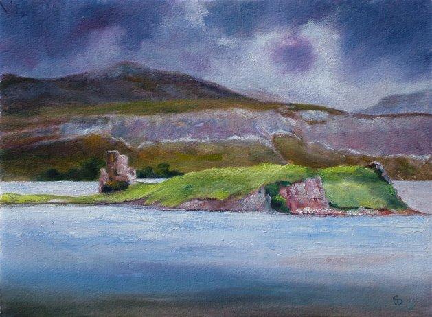 Loch Assynt, Scotland. Original art by Christine Derrick