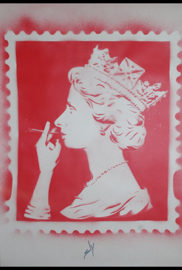 Spliff Queen (red) on plain paper. Original art by Juan Sly