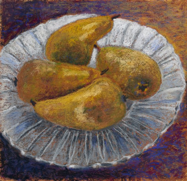 Pears on Plate. Original art by Christine Derrick