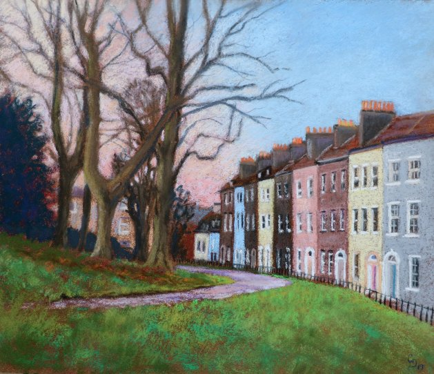 Queens Parade, Brandon Hill, Bristol. Original art by Christine Derrick