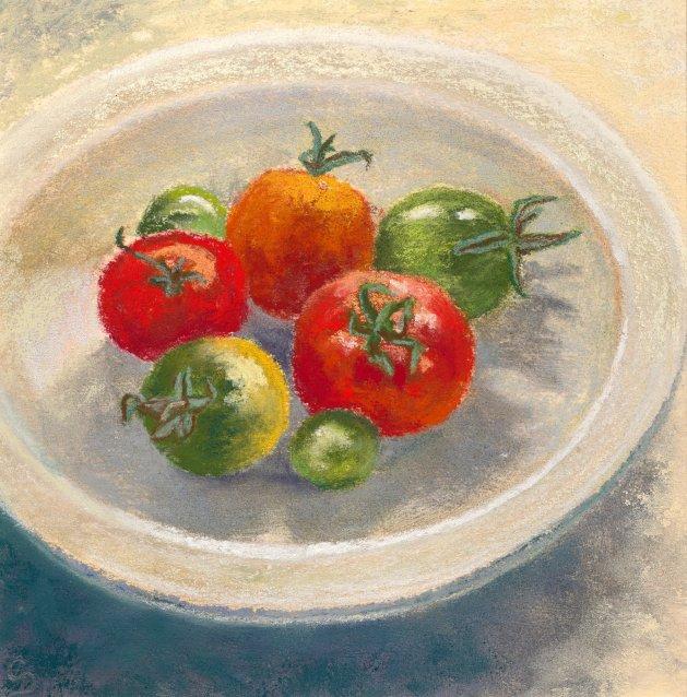 Tomatoes. Original art by Christine Derrick