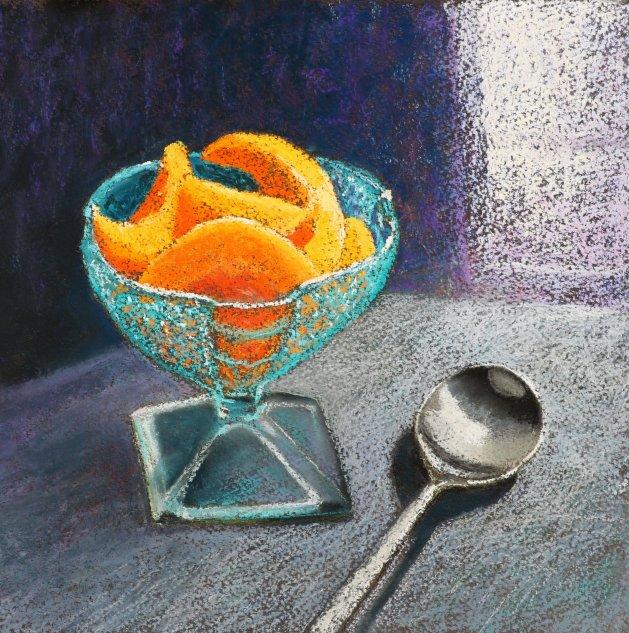 Fruit Dish and Spoon. Original art by Christine Derrick