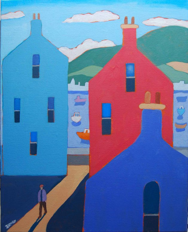 Houses by the Sea. Original art by Randle Drury