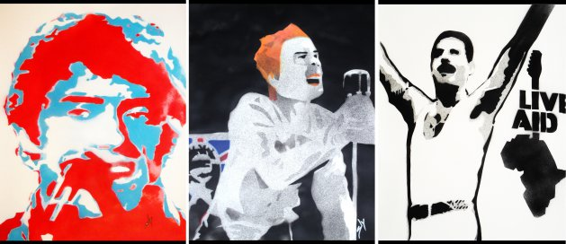 Who, Sex Pistols, Liveaid. Original art by Juan Sly