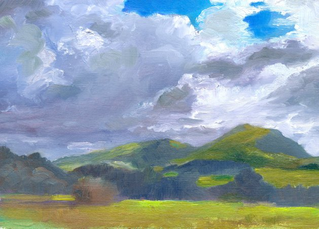 Cloudscape, North Wales. Original art by Christine Derrick