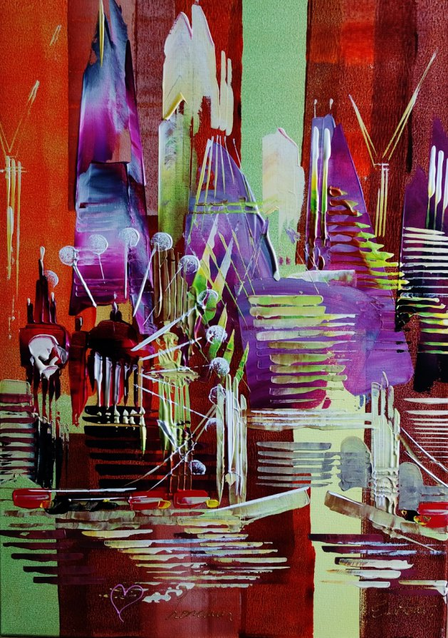 Abstract City Love London 101. Original art by Eraclis Aristidou