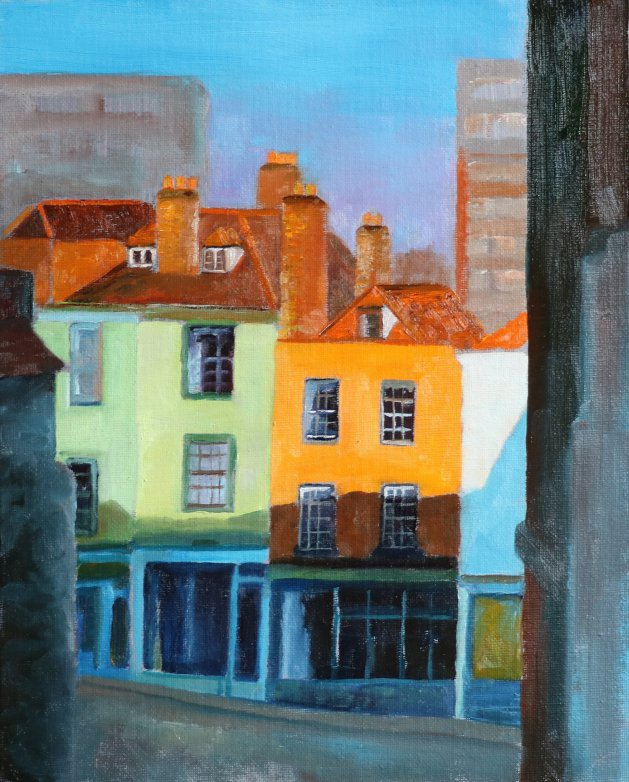 Old Buildings, Bristol. Original art by Christine Derrick