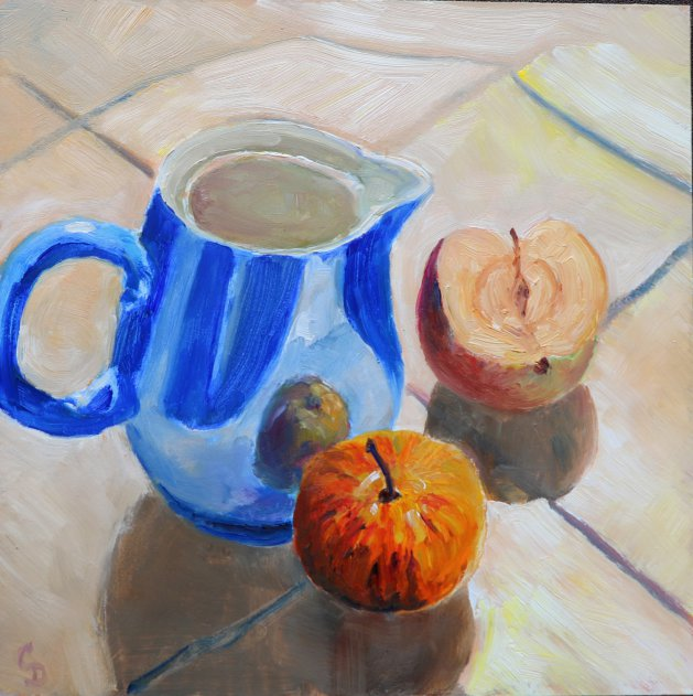 Blue Jug and Fruit. Original art by Christine Derrick