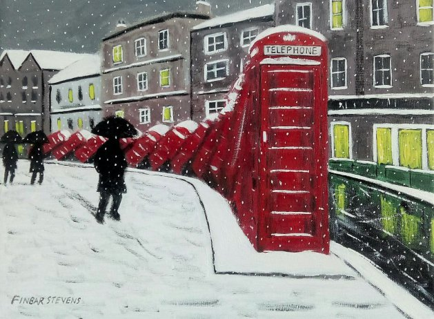 Telephone Boxes in the Snow. Original art by Finbar Matthew Stevens