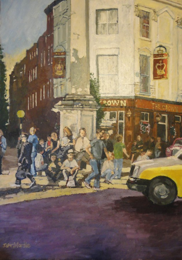 London; Seven Dials Early Evening. Original art by John Wardle