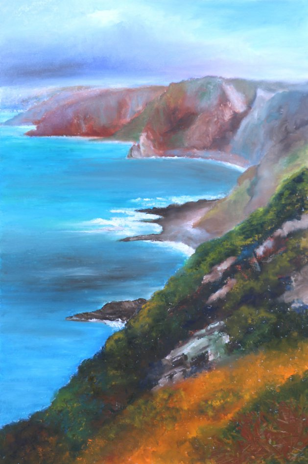 Hartland Cliffs. Original art by Christine Derrick
