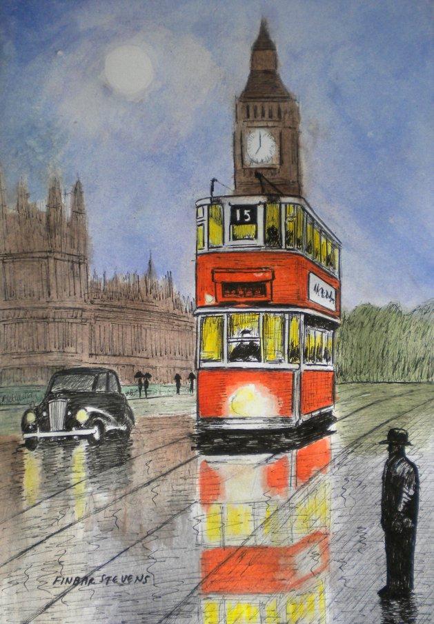 Tram over Westminster Bridge, London. Original art by Finbar Matthew Stevens