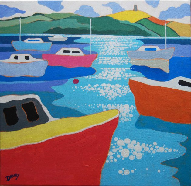 Boats on Strangford Lough. Original art by Randle Drury