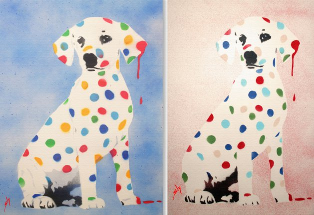 His 'n Hers Damien's Dotty, Spotty Puppy Dawg (on 2 chunky canvas) With Free Poem!. Original art by Juan Sly