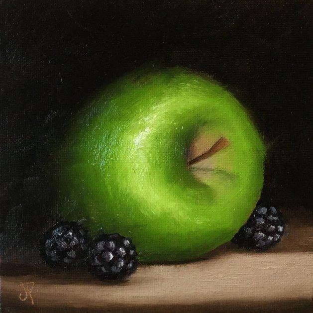 Apple with blackberries. Original art by Jane Palmer