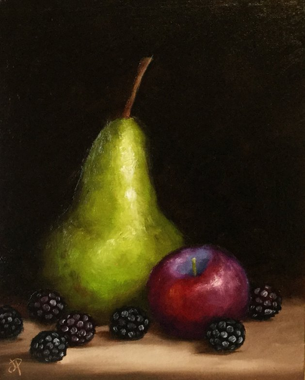 Pear, plum and blackberries. Original art by Jane Palmer