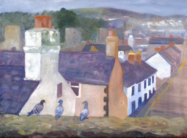Pigeons in Old Conwy. Original art by Christine Derrick