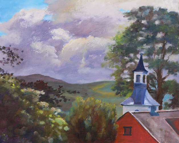 Clouds over Portmeirion. Original art by Christine Derrick