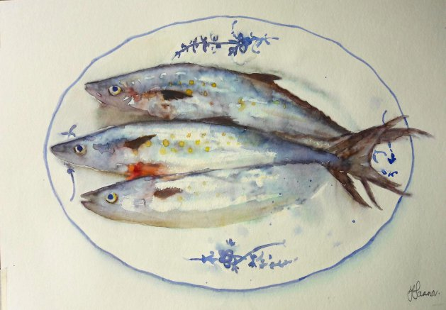 Mackerel on plate. Original art by Teresa Tanner