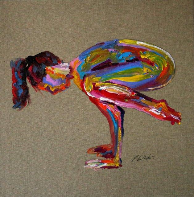 Yoga Nude Pose Abstract 740. Original art by Eraclis Aristidou