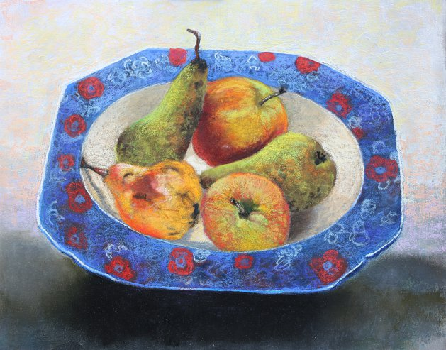 Blue Fruitdish. Original art by Christine Derrick