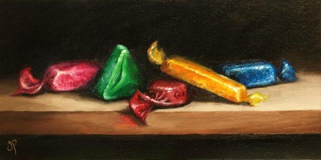 Quality street chocolates. Original art by Jane Palmer