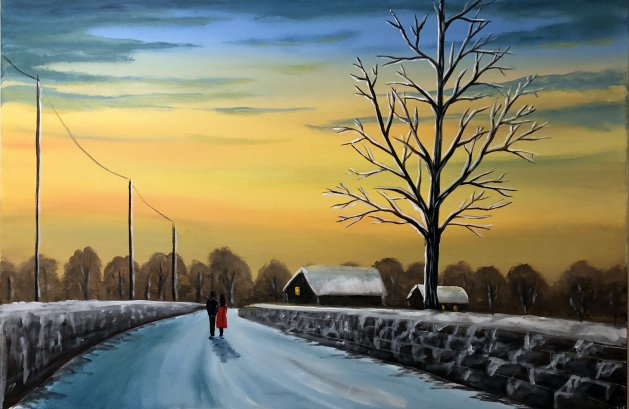 Winter Sunset Walk. Original art by Aisha Haider