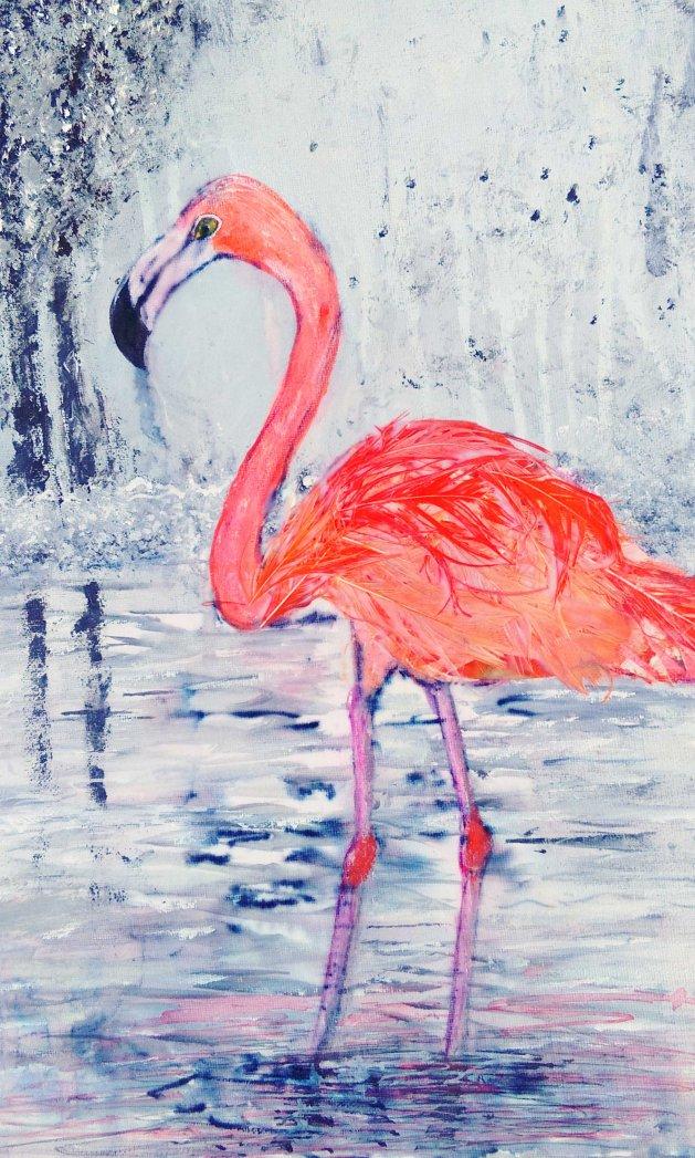 Flamingo. Original art by Nikki Griffith