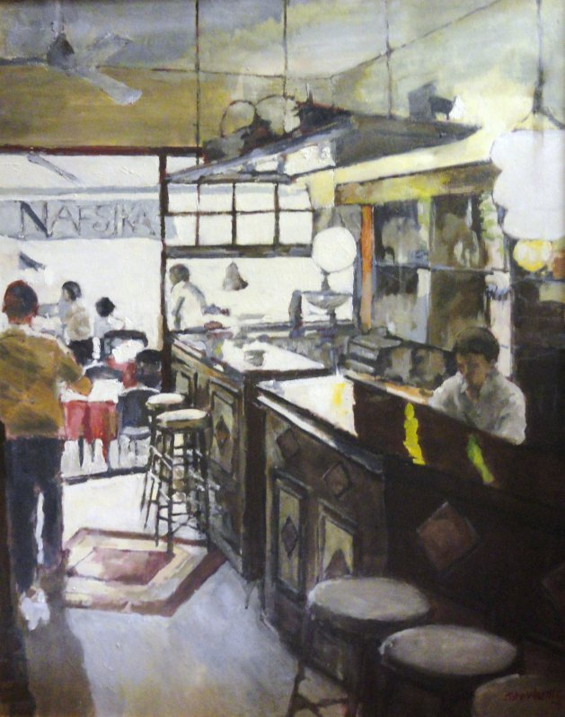 Nafsika, Greek taverna. Original art by John Wardle