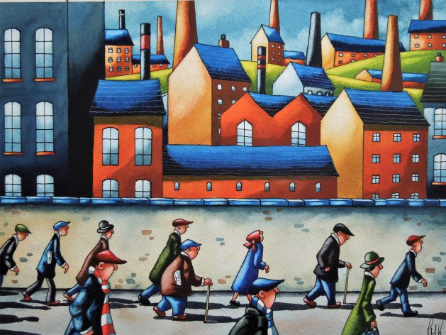 """ Chimney Stacks ""  11 x 8. Original art by Paul Kiernan"