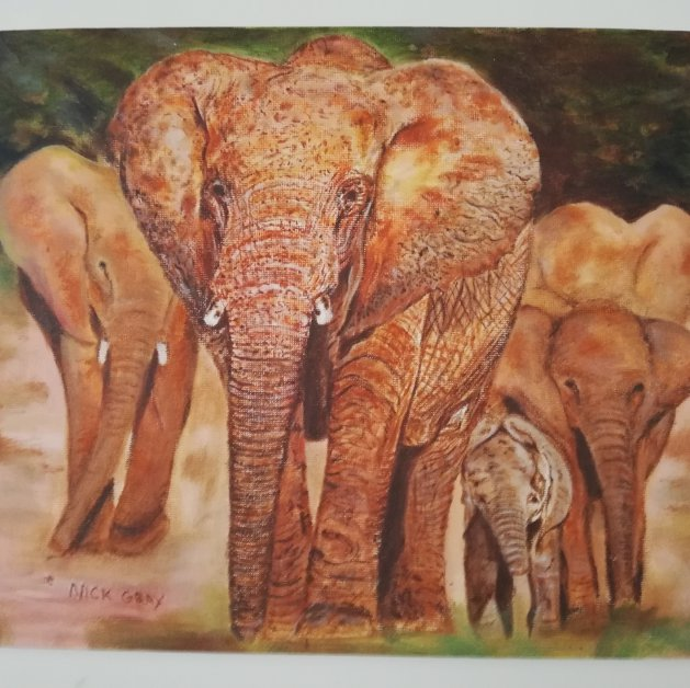 Elephants. Original art by Nick Gray