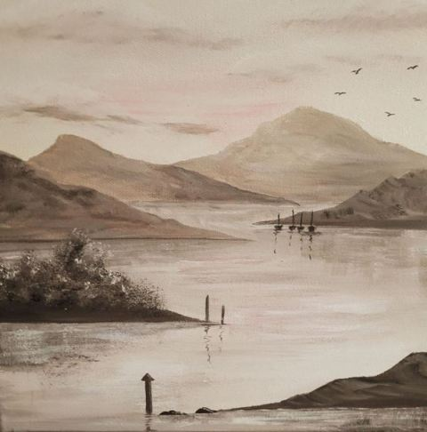 Peaceful Lake. Original art by Rona Benson