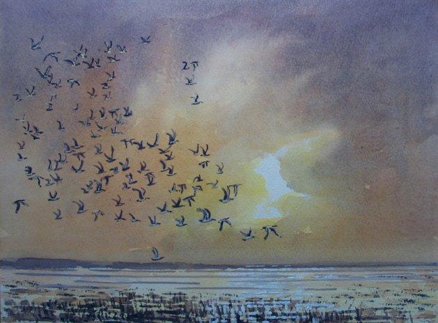 Storm over Cley Marsh. Original art by Stuart Peters