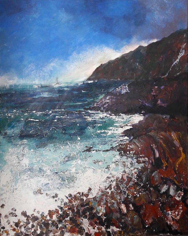 Distant Lighthouse Stormy Seas. Original art by Teresa Tanner