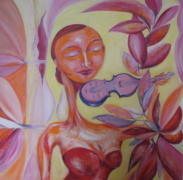Vanessa and the Violin. Original art by Sue Wright