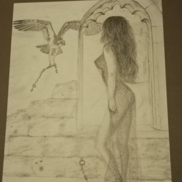 Lady in the tower. Original art by Nick Gray