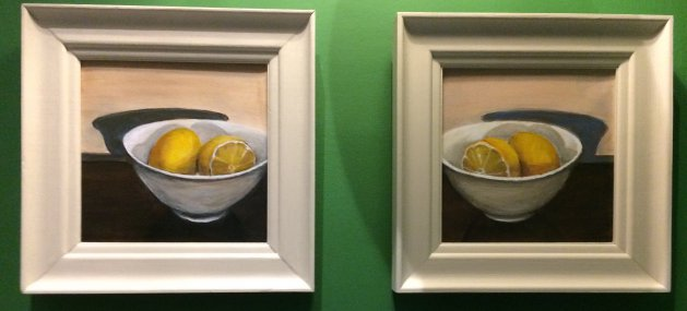 Pair Of Lemons in Bowl. Original art by Sarah Nesbitt